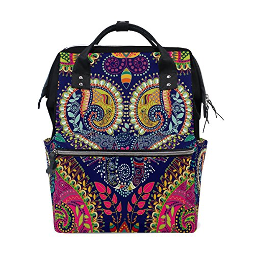 WOZO Colorful Paisley Flower Indian Multi-function Diaper Bags Backpack Travel Bag