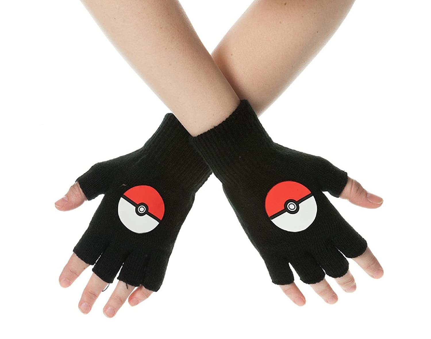 Pokemon Gloves Poke Ball new Official Black fingerless Pokemon Merchandise