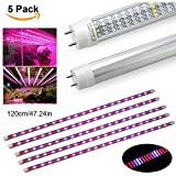 [5Pack] 60W Led Grow Light Tube, EnerEco T8 Plant Light Bar for Greenhouse Hydroponic Indoor Plant Garden Growing Flowering -1.2M/47.24INCH
