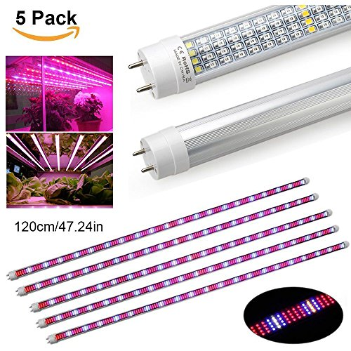 [5Pack] 60W Led Grow Light Tube, EnerEco T8 Plant Light Bar for Greenhouse Hydroponic Indoor Plant Garden Growing Flowering -1.2M/47.24INCH by EnerEco