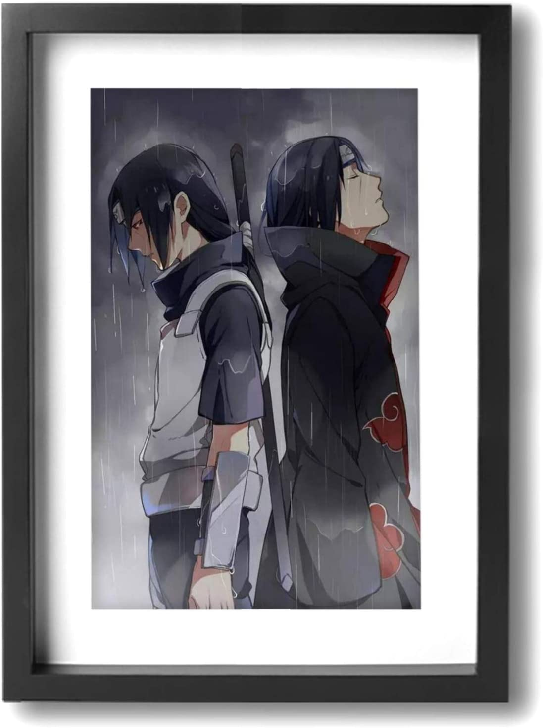 Naruto Uchiha Itachi Akatsuki Wall Decor Framed Painted Office Home Decor Paintings Artwork for Living Room Bathroom Bedroom Stretched Ready to Hang 9x13 inch (A4)