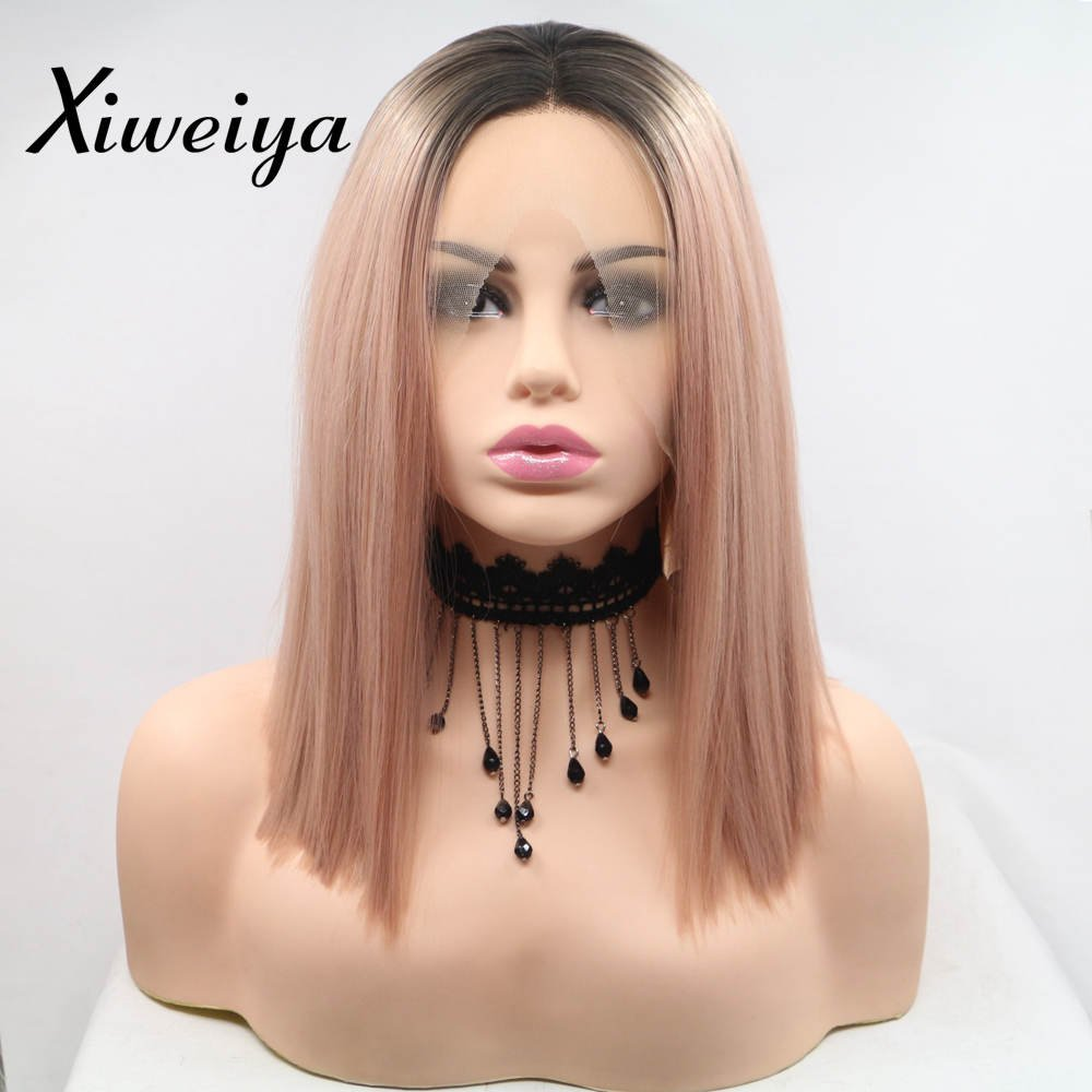 Xiweiya Mermaid Synthetic Rose Gold Straight Cut Bob Lace Front Wigs with Dark Root Middle Part Short Pink Bob Short Soft Wig Heat Resistant Fiber Hair Replacement Wig Women Drag Queen Makeup 14 inch