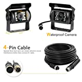 Camecho 12V-24V 4 Pins 18 LEDs IR Night Vision Waterproof Rear View Camera +10M 4 Pins Cable for Car / Bus / Truck / Trailers / Caravan / Camper / Heavy Reverse