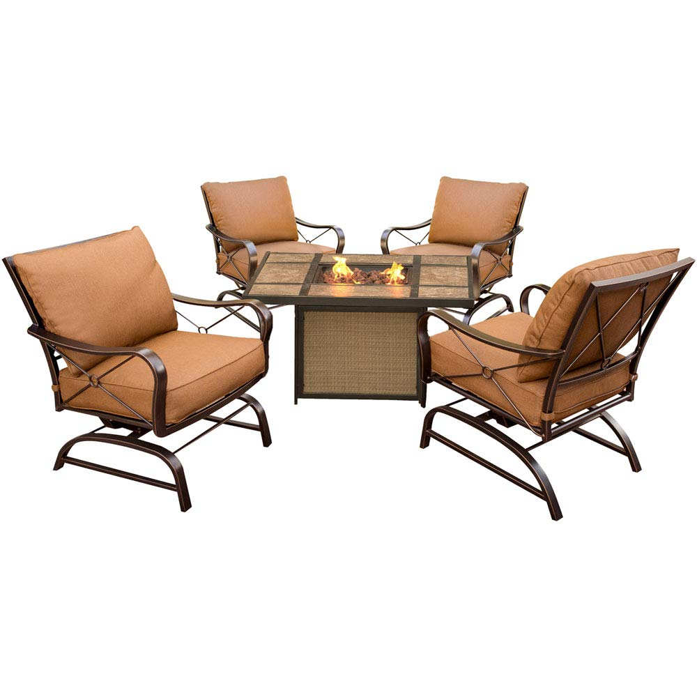 Hanover P SUMMRNGHTTILE Summer Nights 5 Piece Conversation Set with Tile-Top Fire Pit Table Outdoor Furniture, Aluminum/Desert Sunset by Hanover