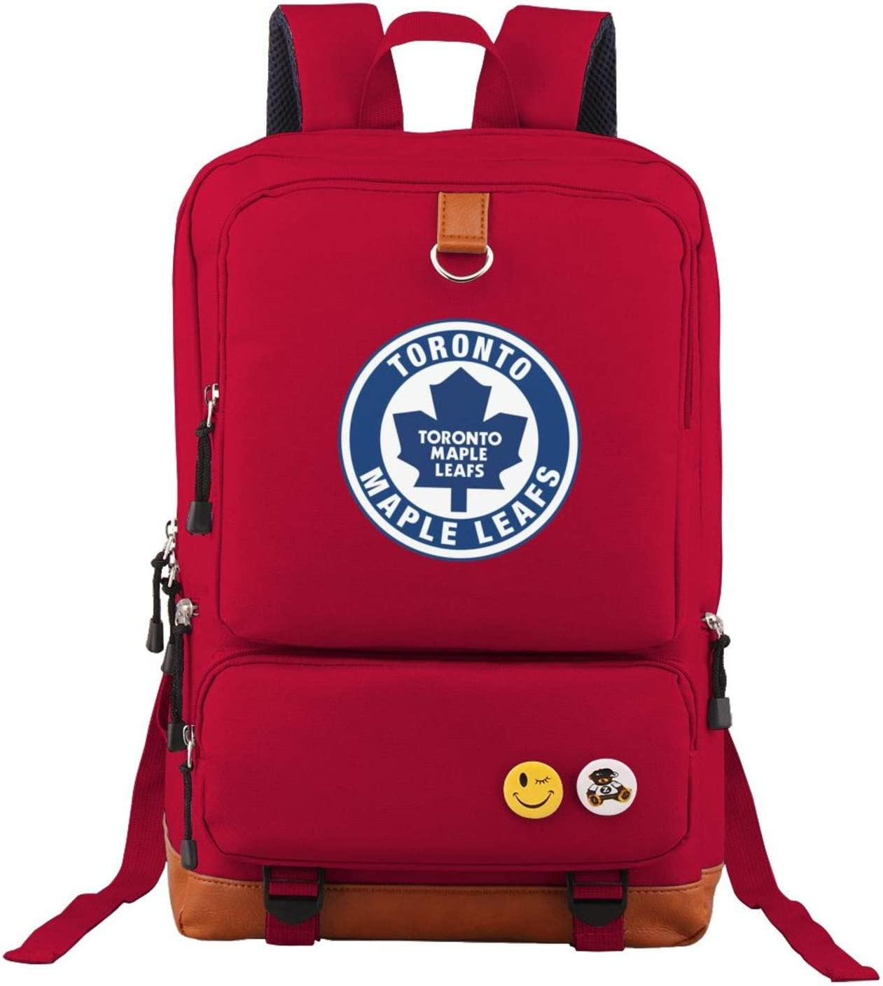 G-III Sports Toronto Maple Leafs Backpack for Middle High School College Student Oxford School Bag Laptop Rucksack Red