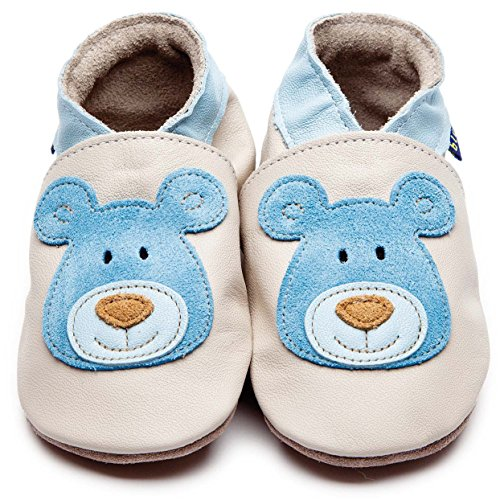 Inch Blue Krabbelschuhe Bear Cream/Blue, Medium