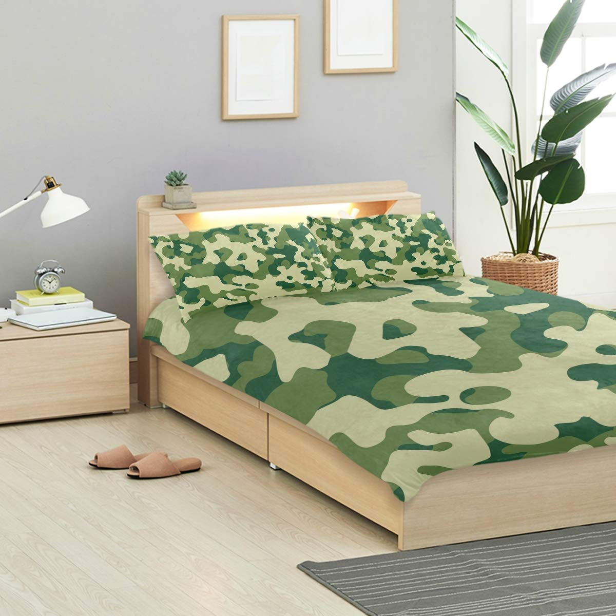 Camouflage Green Pattern 3 Piece Duvet Cover Set 1 Duvet Cover 2 Pillow Shams Crystal Velvet Quilt Cover Pillowcase Pillow Cover for Kid Boy Girl Bedding Sets Twin Size