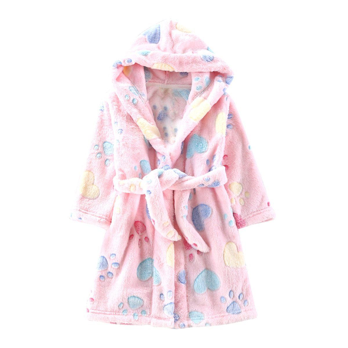 Toddlers/kids/baby Soft Fleece Bath Robe Children Pajamas Sleepwear With Hood (2T, Pink)