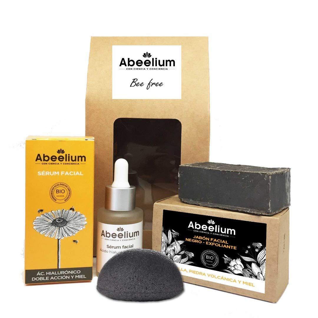 Abeelium - Pack Bee Free   Sérum Facial Reafirmante, Jabon Facial Exfoliante y Esponja Negra Konjak - Producto natural y Ecológico   Hecho en España