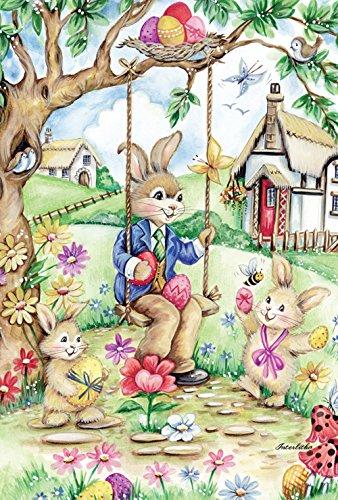 Toland Home Garden Easter Bunny Swing 12.5 x 18-Inch Decorative USA-Produced Garden (Bunny Decorative Flag)