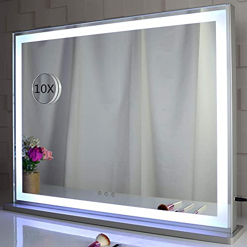 BEAUTME Vanity Mirror with LED Backlit Lights, Lighted Tabletop Hollywood Makeup Mirror for Dressing Room Bedroom,3 Color Modes with Dimmer,Silver L28.3 X H22.2 inch
