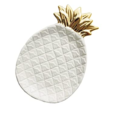 Ceramic Plate Jewelry Tray Jewelry Ring Dish Organizer for Keys Phone Jewelry Watch Wallet Fruit Saucer Dessert Plate White Pineapple