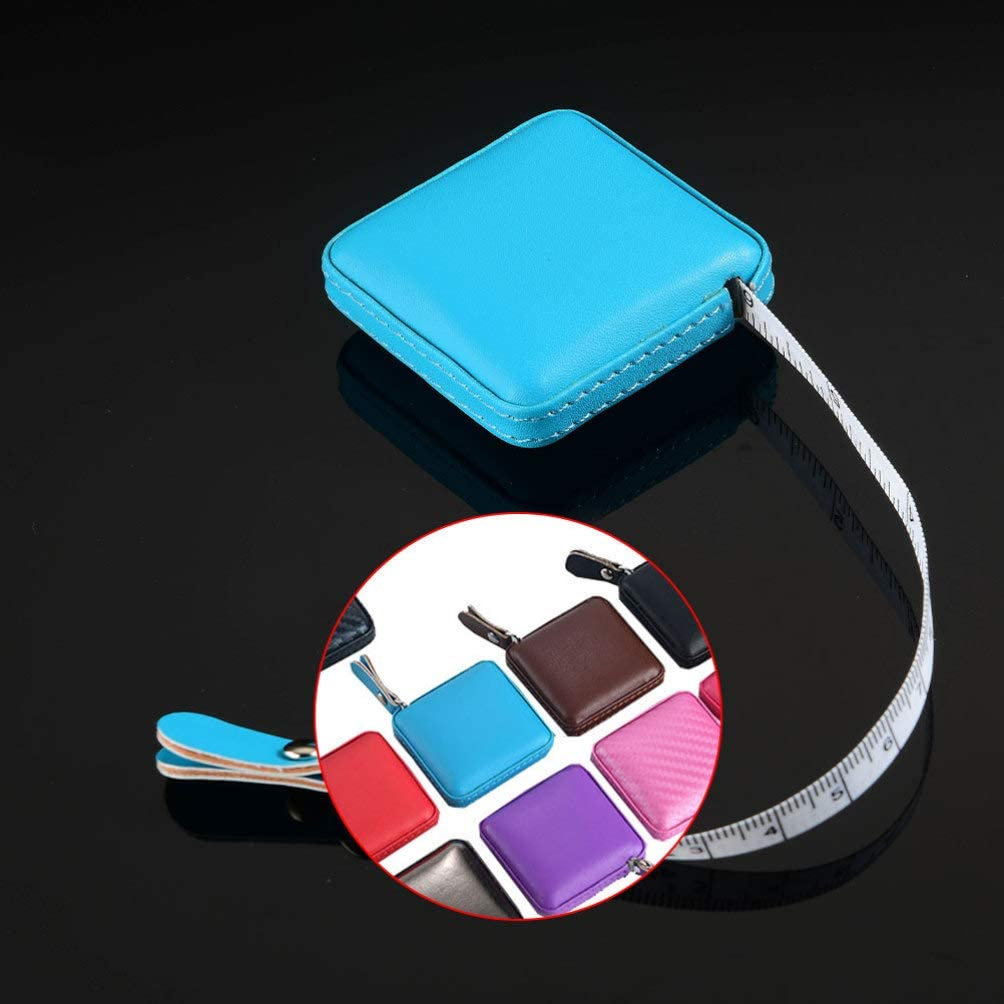 Milisten Retractable Tape Measure PU Leather Case 40-Inch 1 Meter Soft Measuring Tape for Body Tailor Sewing Craft Cloth Measurement Tool Rosy