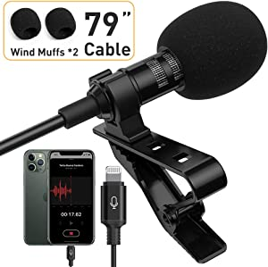 Microphone Professional for iPhone Lavalier Lapel Omnidirectional Condenser Mic Phone Audio Video Recording Easy Clip-on Lavalier Mic for Youtube, Interview, Conference for iPhone/iPad/iPod(IOS 6.6ft)