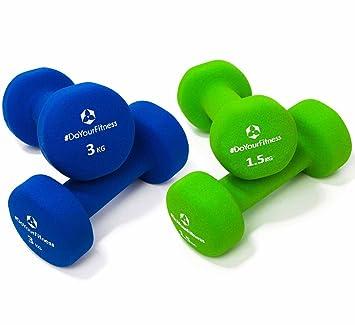 Set Ahorro de mancuernas neopreno »Peso« / Las pesas / Set: 2x verde y azul marino (1,5kg / 3kg): Amazon.es: Deportes y aire libre