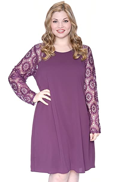 c64e7602803f Plus Size Lace Sleeve Shift Dress Purple 1X at Amazon Women s Clothing  store