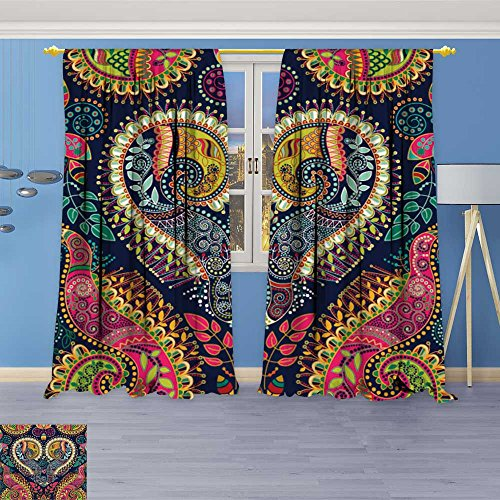 Window Delicate Decorative (SOCOMIMI Room Darkening Window Curtains, Paisley Original Decorative Backdrop Back Tab, Set of Two Panels 72W x 84L inch)