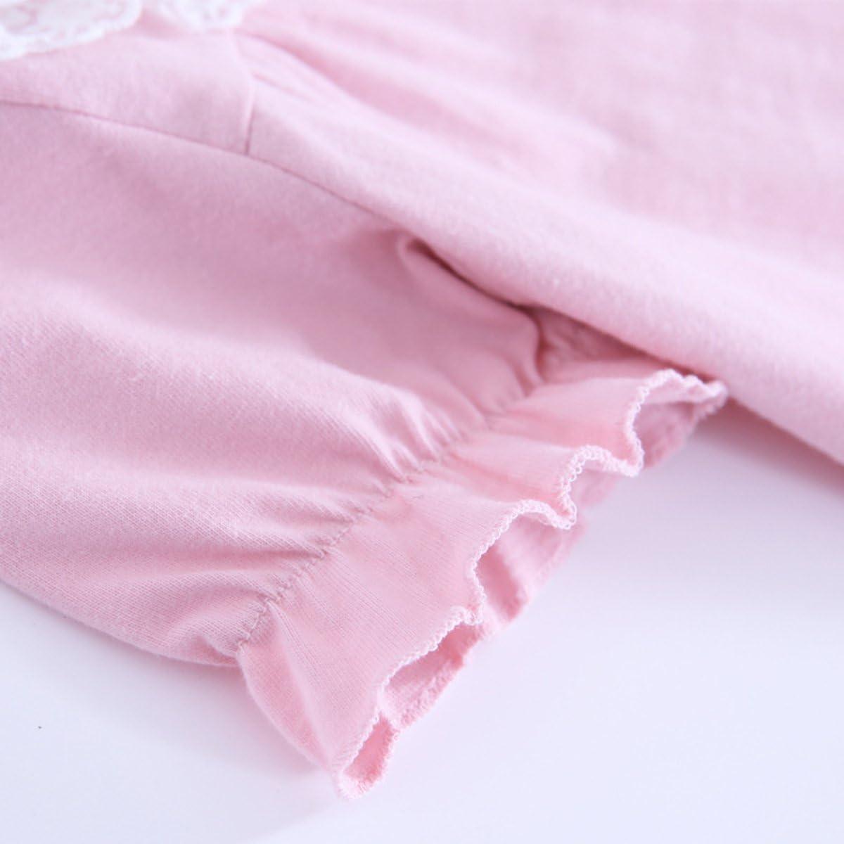 KINYBABY Little Girls Cute Cotton Nightgown Lace Bowknot Nightdress Sleepwear Pajamas