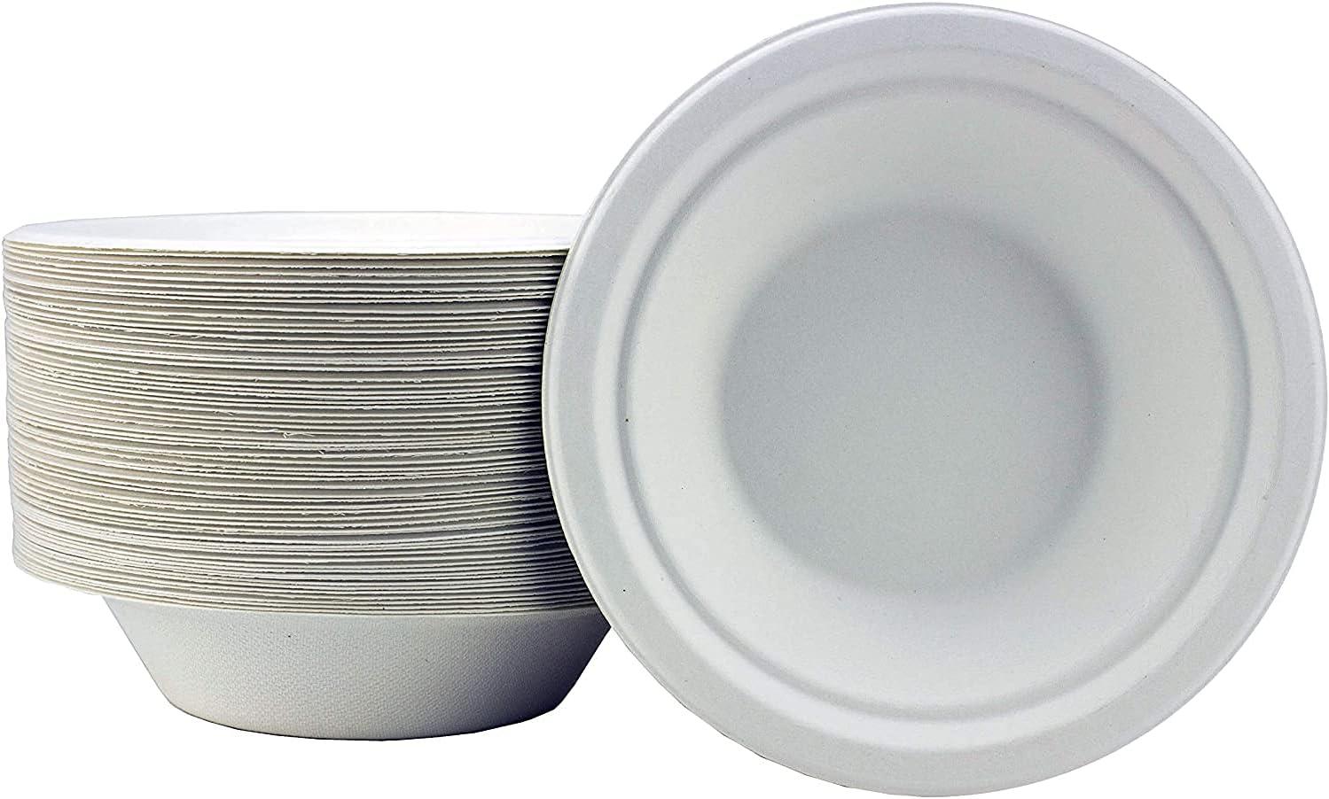 Khandekar 6 oz Disposable Bowls, Eco Friendly Biodegradable Sugarcane Bowls, - White, 180 ML, 50 Count