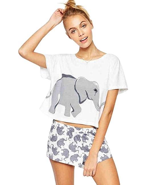 Dooxi Mujer Verano Encantador Elefante Pijama Manga Corta T Shirts y Pantalones Cortos 2 Piezas