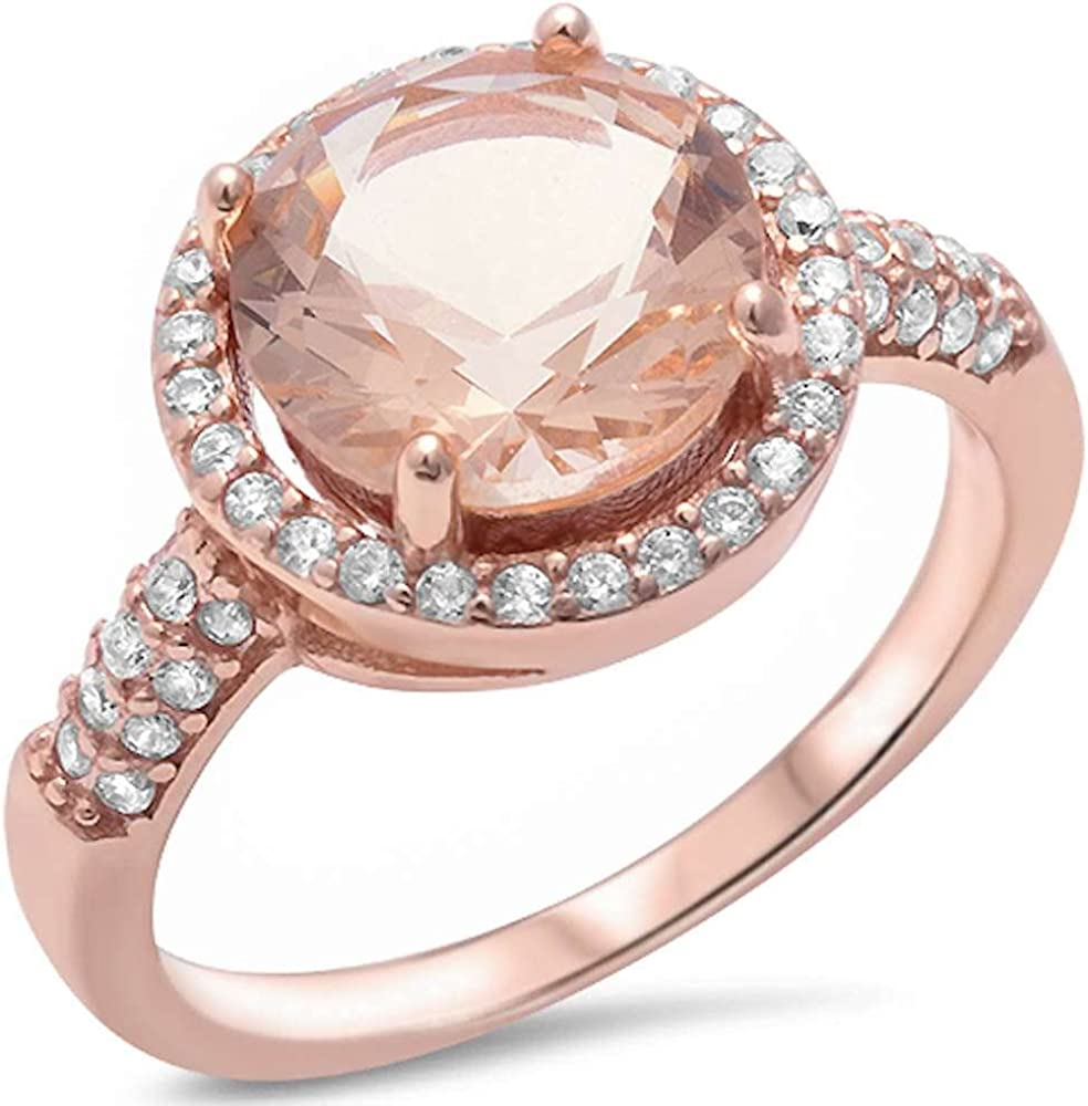 Rose Gold Plated Cubic Zirconia Wedding Band .925 Sterling Silver Ring Size 4-11