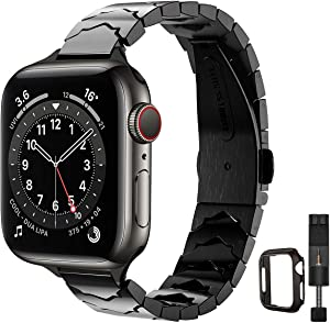 STIROLL Slim Stainless Steel Replacement Band Compatible for Apple Watch 38mm 40mm 42mm 44mm, Crown Shape Wristband Women for iWatch SE Series 6/5/4/3/2/1 (Black, 42mm 44mm)