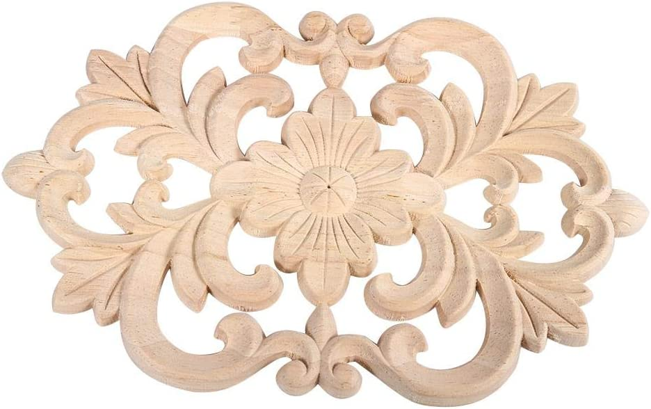 Rubber Wood,Natural Safe and Durable Environmental-Friendly 22 * 14CM Wood Carved Onlay Applique Unpainted Furniture for Home Door Cabinet Decoration