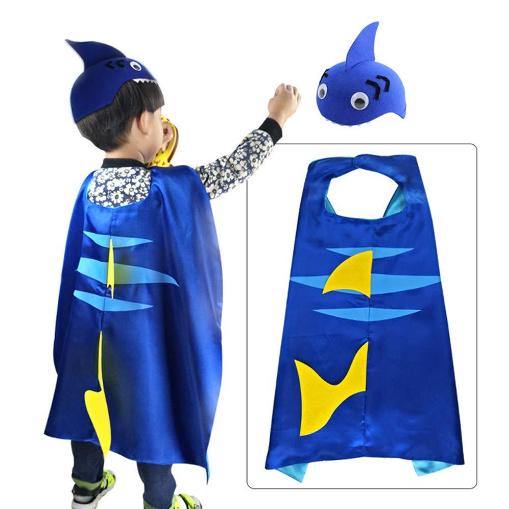 Pannow Halloween Halloween Halloween Christmas Kids Shark Tail Cloak Juego de Sombreros de Cabo Disfraces de Cosplay para Fiesta de Festival (Azul) 43bd3f