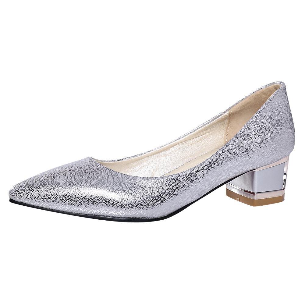 Mee Shoes Damen chunky heels Geschlossen spitz Pumps  35 EU|Silber