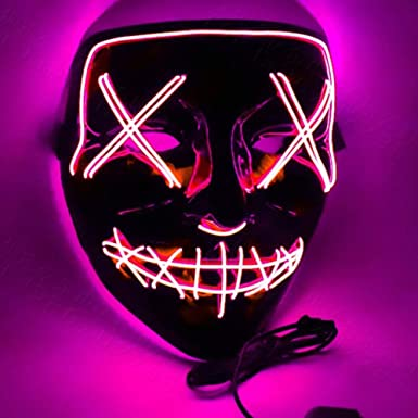 4 Modes Halloween LED Glow Mask EL Wire Light Up The Purge Movie Costume Party
