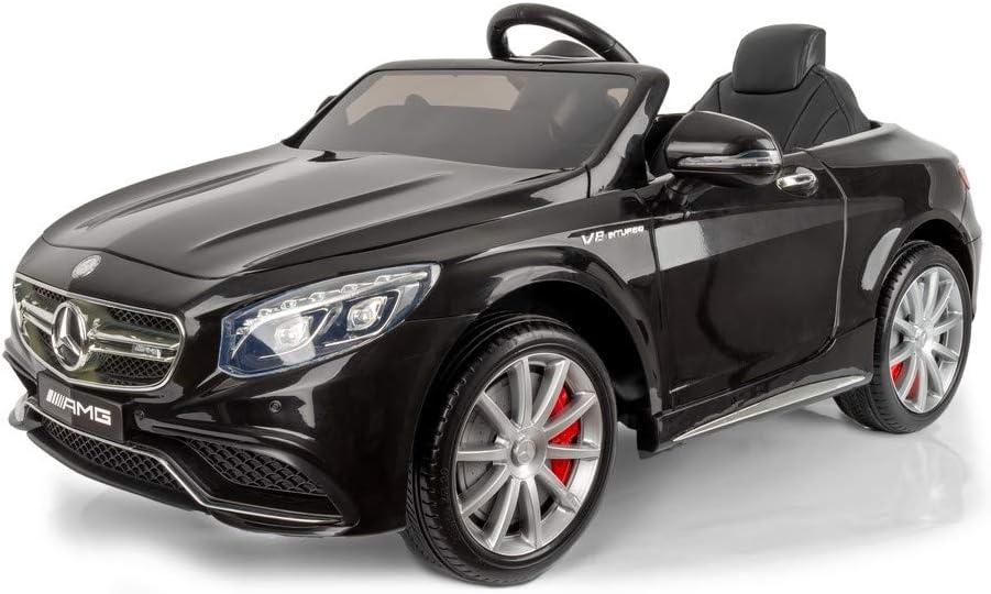 Devessport - Coche eléctrico para niños 12v con Mando de Control Remoto - Mercedes S63 Negro - Coche teledirigido con batería - Ideal para niños de 3 a 8 años (máximo 30 Kg) - Medidas: 120x70x52Cm
