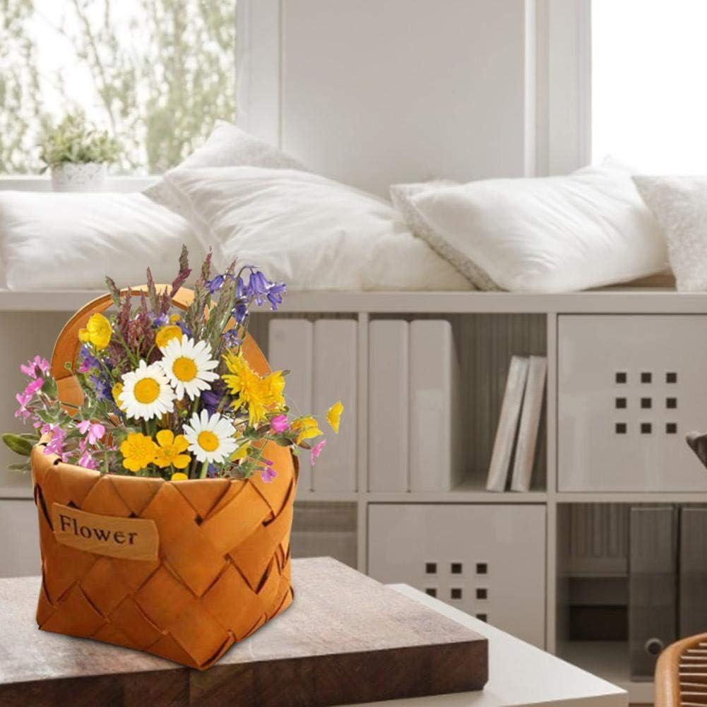 Wicker Storage Hamper Basket,Hand-woven Wooden Basket,Portable Traditional Shopping Easter Basket Wicker Hamper Gift Basket with Carry Handles,Natural