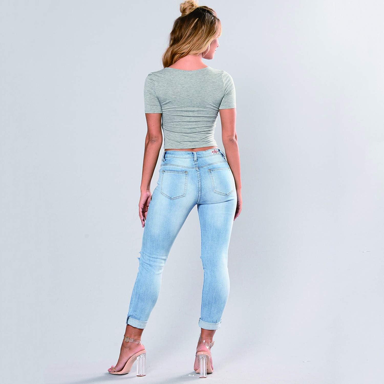 Donna Jeans Slim Strappati Skinny Pantaloni Elasticizzati con Piccoli Piedi Ricamati a Fiori Taglia S-XXXL