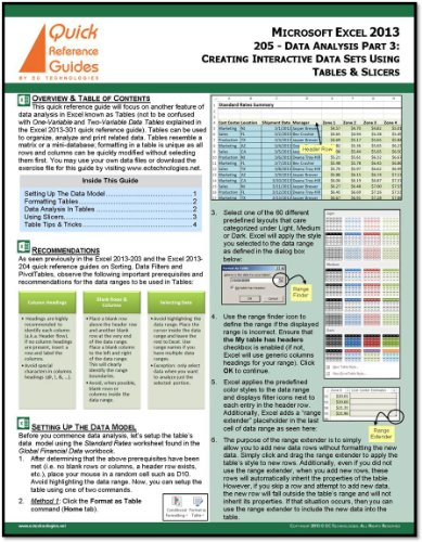 Microsoft Excel 2013 Quick Reference Guide - Data Analysis Part 3: Creating Interactive Data Sets Using Tables & Slicers (205) ()