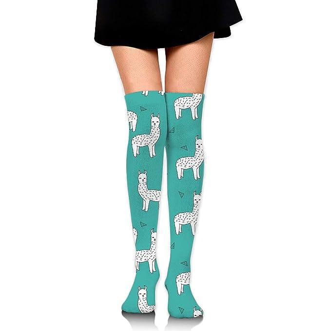 b3f20edf7 Teal Alpacas Cute Llamas Baby Womens Knee High Socks Long Socks Sport Socks  Thin For Running
