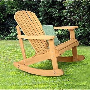 K&A Company Chair Outdoor Adirondack Rocking Deck Garden Furniture Wood Patio Fir Natural Bench Wooden Relax Yellow Acacia Folding Light Weight Contoured