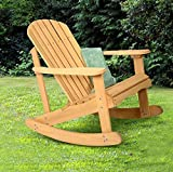 K&A Company Chair Outdoor Adirondack Rocking Deck Garden Furniture Wood Patio Fir Natural Bench Wooden Relax Yellow Acacia Folding Light Weight Contoured