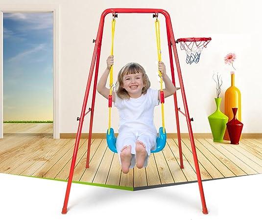 Pink Escalera de Escalada Individual RUXINGGU 4 en 1 Juego de Columpio y Escalada para ni/ños con aro de Baloncesto extra/íble /área de Juego para ni/ños al Aire Libre e Interior tobog/án Largo