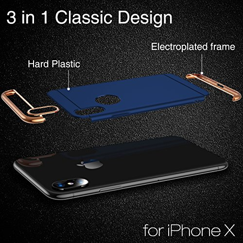 iPhone X Case, TORRAS [Lock Series] 3 in 1 Hybrid Hard Plastic Case Ultra Thin and Slim Anti-scratch Matte Finish Cover Case for Apple iPhone X - Blue Photo #6