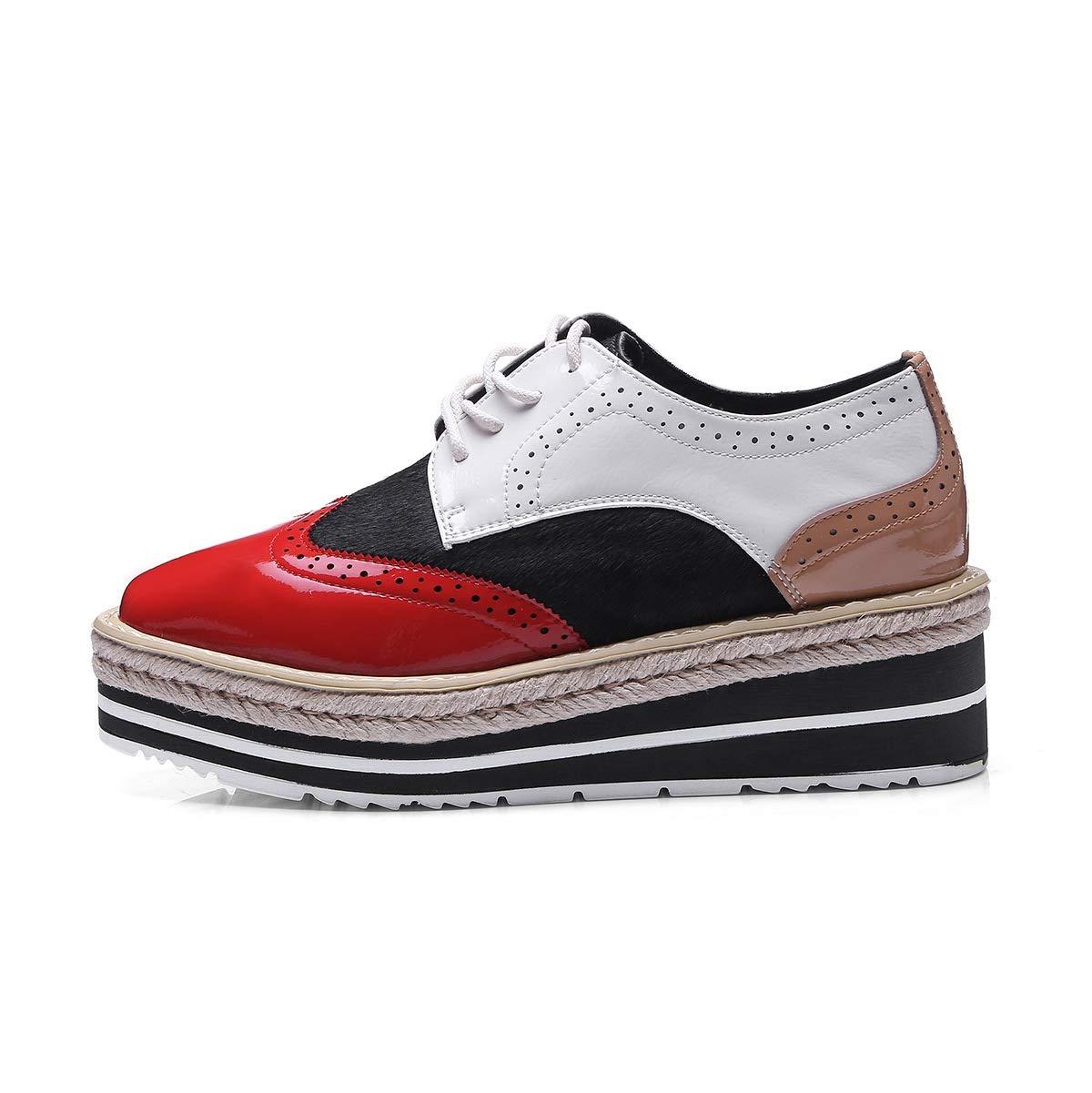 HNShoes Mujer Mocasines Cuñas Tacón Plataforma Rojo Negro Colegio con Cordones Zapatos Casual Confort Mocasín Primavera Otoño: Amazon.es: Deportes y aire ...