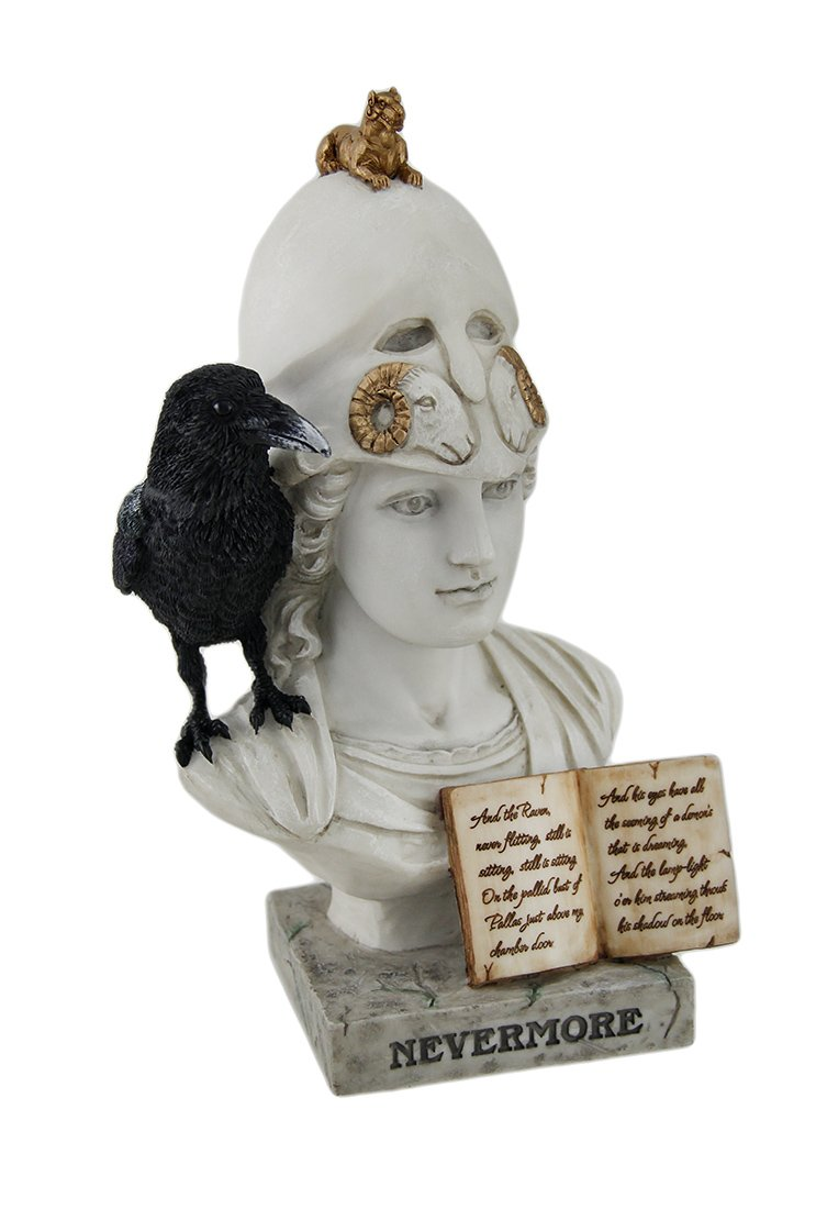 Polyresin Statues The Raven Nevermore On Pallas Athena Bust Statue 4.5 X 8.5 X 5.5 Inches White