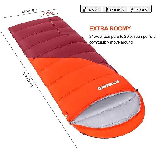 Fundango Saco de Dormir con Bolsa de compresión, Ligero Saco de Dormir Impermeable de Gran tamaño para 4 Estaciones de Viaje, Camping, Senderismo, ...