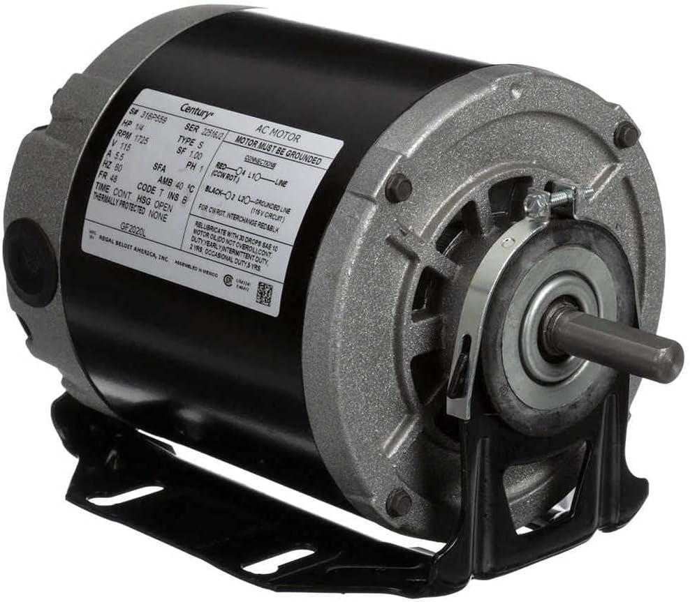 Century AO Smith GF2020L Split-Phase Resilient Motor, 1/4 HP, Split-Phase, 1725 RPM, 115V, 48 Frame