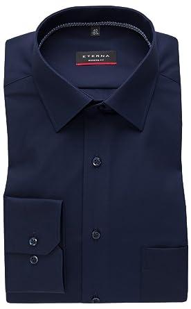 d192e66712a573 eterna Herren Hemd Langarm Modern Fit Elegantes Business Büro Freizeit  Baumwoll Hemden 8504 19 X19P Blau  Amazon.de  Bekleidung