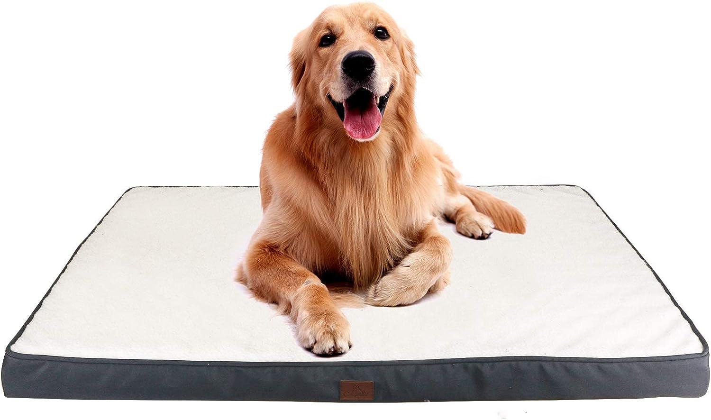 GNEGNIS Colchón de Espuma viscoelástica para Perro, Desenfundable Colchón para Perros, Funda Lavable, 110 x 83 x 10 cm