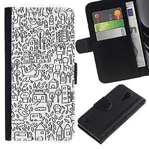 SAMSUNG Galaxy S4 IV / i9500 / SGH-i337 Modelo colorido cuero carpeta tirón caso cubierta piel Holster Funda protección - Sketch Drawing City Pen White