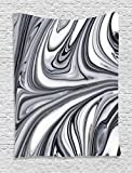 Ambesonne Abstract Tapestry, Mix of White and Black Hallucinatory and Surreal Liquid Marble Graphic Artwork, Wall Hanging for Bedroom Living Room Dorm, 60' X 80', Grey