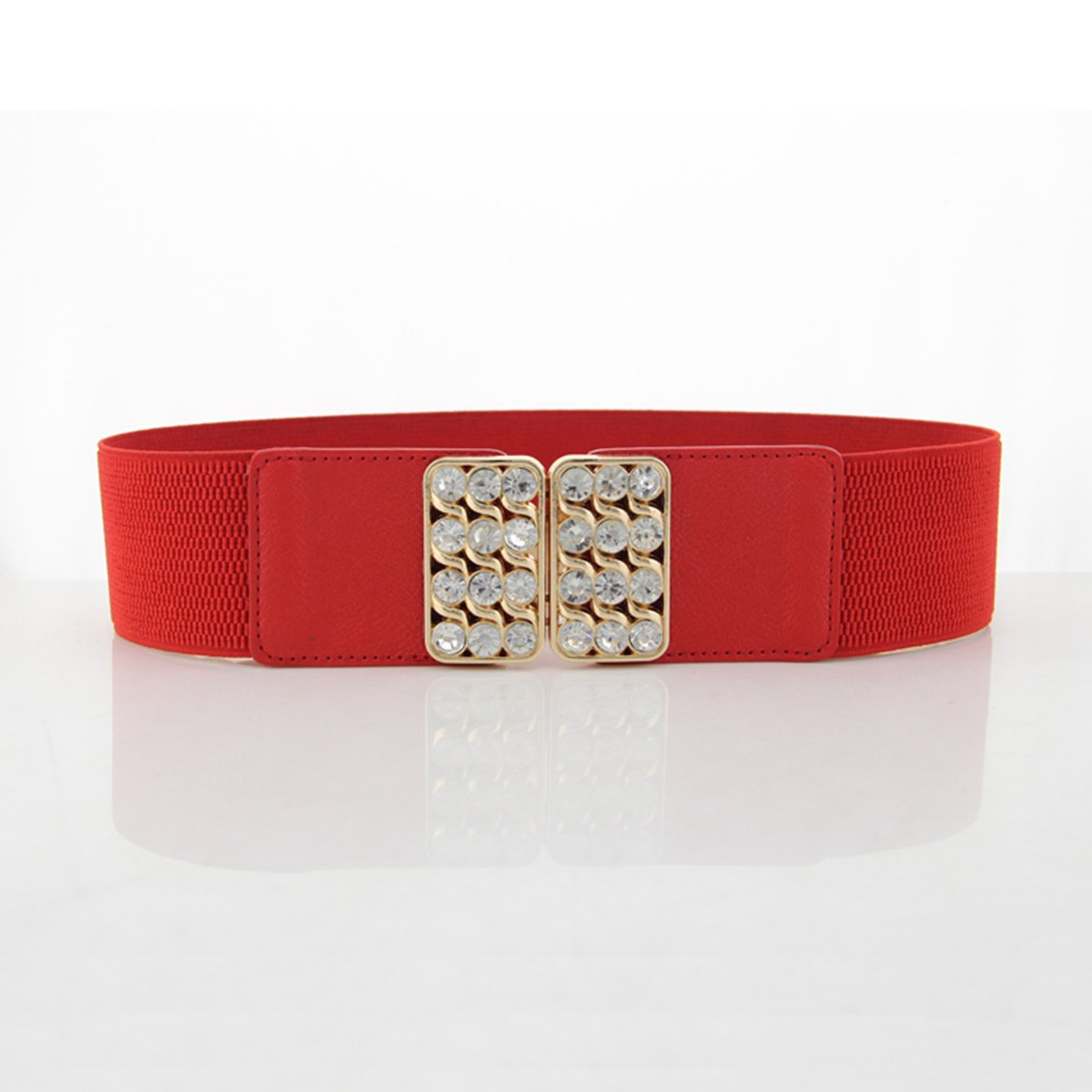 Womens Love Heart Diamonte Buckle Elasticated Stretchy Cinch Belts One Size