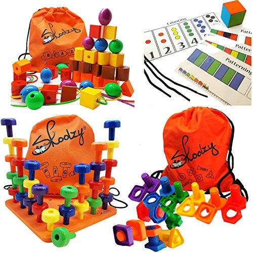 (Skoolzy Montessori Toys for Toddlers - 102pc Educational Toys: Lacing Beads, Jumbo Nuts and Bolts & PEG Board Set | Occupational Therapy Matching Lacing & Stacking Fine Motor Skills Kit)