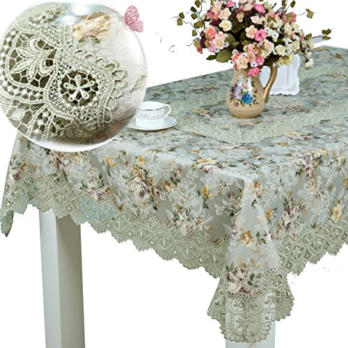 homand'o Pea Green Lace Tablecloth with Floral Printed Jacquard Fabric Elegant Tablecover (Square 65x65inches(165x165cm))